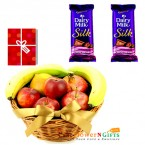 send 2 kg fresh fruits basket with 2 cadbury silk and greeting card delivery