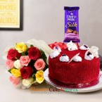 send 1kg eggless red velvet cake 10 red roses silk chocolate delivery