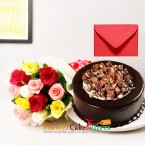 send half kg choco kitkat cake and 10 mix roses bouquet n card delivery