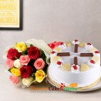 send eggless half kg kit kat pineapple cake and 10 mix roses bouquet delivery