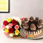 send 1kg eggless ferrero rocher chocolate cake and 10 mix roses bouquet delivery