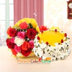 send half kg eggless pista pineapple cake and 10 mix roses bouquet delivery