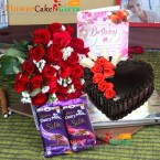 send half kg eggless heart shape chocolate cake with 25 roses bouquet and cadbury silk delivery