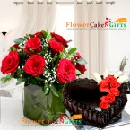 send 1kg eggless heart shape chocolate cake with vase of 10 red roses delivery