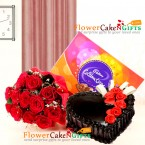 send half kg eggless truffle cake 12 roses bouquet n celebrations chocolates delivery