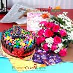 send half kg eggless kitkat gems cake 12 pink roses bouquet chocolate card delivery