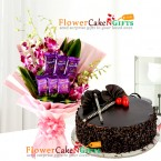 send half kg choco chip cake n orchids silk chocolates bouquet delivery