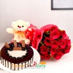 send half kg eggless kitkat chocolate cake teddy with 12 red roses bouquet delivery