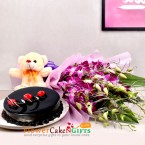 send half kg chocolate cake teddy bear 6 purple orchids delivery