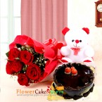 send half kg eggless chocolate cake teddy bear 6 red roses delivery