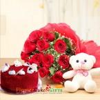 send half kg red velvet cake teddy bear 12 red roses bouquet delivery