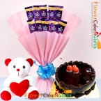 send half kg eggless chocolate cake teddy dairy milk chocolate bouquet delivery