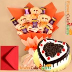 send 1kg black forest heart shape cake n teddy chocolate bouquet  delivery