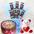 send 1kg eggless kitkat gems cake n teddy chocolate bouquet delivery
