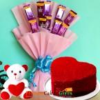 send half kg red velvet heart shape cake n teddy chocolate bouquet delivery