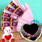 send half kg chocolate gems heart shaped cake teddy dairy milk chocolate bouquet delivery