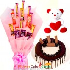 send half kg eggless kitkat chocolate cake teddy mix chocolate bouquet delivery