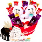 send  half kg eggless choco vanilla cake little teddy chocolate hamper delivery