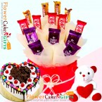 send 1kg eggless black forest gems heart shaped cake teddy chocolates hamper delivery