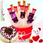 send half kg black forest gems heart shaped cake teddy chocolates hamper delivery