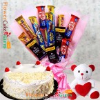 send half kg eggless white forest cake teddy chocolates bouquet delivery