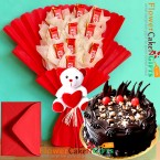 send half kg eggless dry fruit chocolate cake teddy kitkat chocolate bouquet delivery
