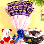 send half kg eggless black forest cake teddy cadbury dairy milk bouquet delivery