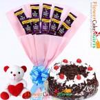 send half kg black forest cake teddy dairy milk chocolate bouquet delivery