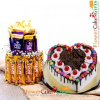 send half kg heart shape black forest gems cake with two layer chocolate arrangement delivery