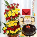 send 1kg eggless chocolate truffle cake and 50 red n yellow tall basket ferocher chocolate delivery