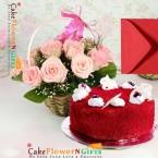send half kg red velvet cake and 15 pink roses basket delivery
