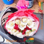 send 5 red roses with 16 ferrero rocher chocolate bouquet delivery