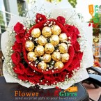 send 25 red roses with 16 ferrero rocher chocolate bouquet delivery