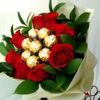 send 8 red roses 8 ferocher chocolate bouquet delivery