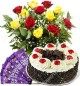 500gms Black Forest Cake  Red Yellow Roses n Chocolate Gift