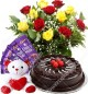 500 gms chocolate cake Red Roses bouquet teddy Chocolate