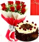 Half Kg Eggless Black Forest Cake N 10 Red Roses Bouquet n Greeting Card