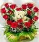 teddy heart shaped rose bouquet