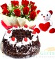 Half Kg Black Forest Eggless Cake Red Roses Bouquet Teddy Bear