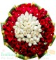 Blistering Designer White Red Roses Hand Tied Bouquet