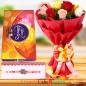 Designer Rakhi Roses Flower Bouquet n Cadbury Celebrations Chocolate Gift