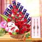 Designer Rakhi Teddy Flower Chocolate Bouquet