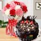 half kg eggless dry fruit chocolate cake n carnation bouquet
