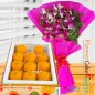 500 gms pure ghee laddu sweet box and orchid bouquet