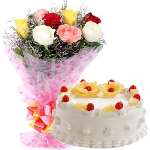500gms pineapple cake with mix roses bunch
