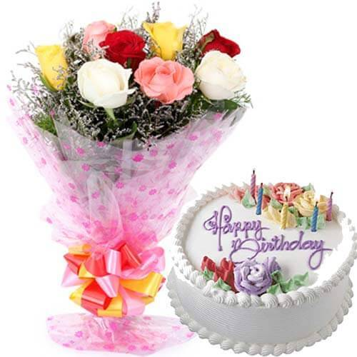 500gms Vanilla Cake with Mix roses Bunch