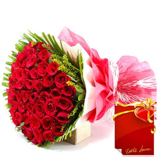 Designer 50 Red Roses Flower Bouquet