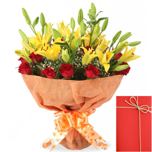 lilies roses bouquet with Greeting Card