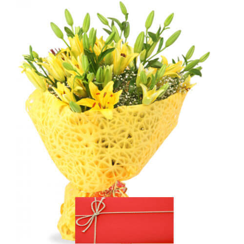 Small Lilies Bunch With Card