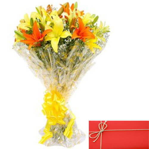 Bunch of Mix lilies with Card